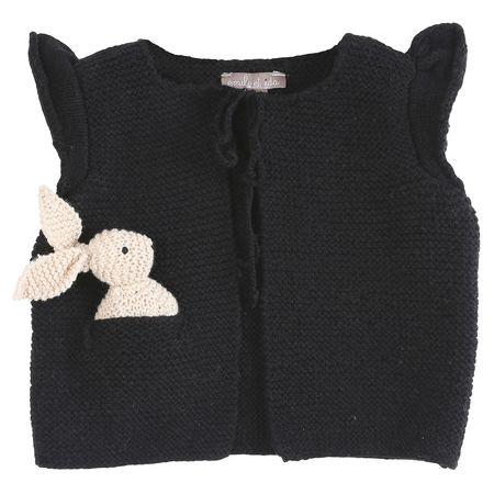 KIDS Émile et Ida Hand Knit Vest with Toy Bunny - Black