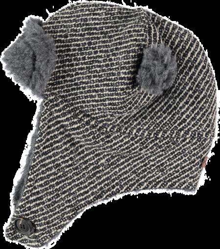 Kids Tocoto Vintage Herringbone Hat with Sheepskin - Dark Grey