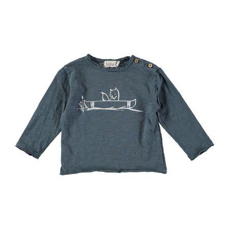 kids Búho Linus Canoe T-Shirt - ocean blue
