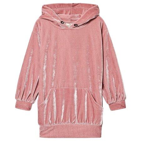 KIDS andorine velvet sweat dress - pink