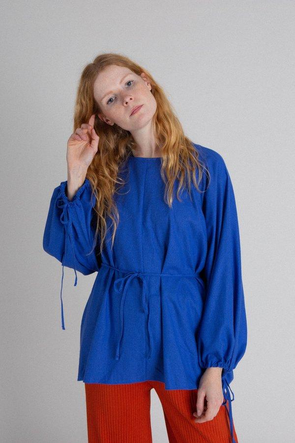 Baserange Honda Raw Silk Blouse - Blue