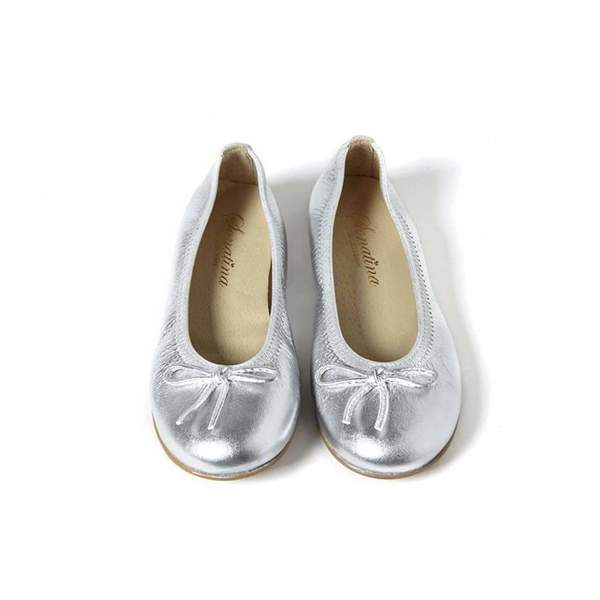 Kids Sonatina Pampered Foiled Leather Shoes - Silver