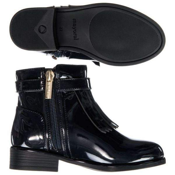 Kids Mayoral Patent Frill Boots - Navy Blue