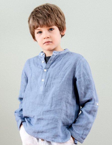 Kids Búho Paul Linen Shirt - Blue