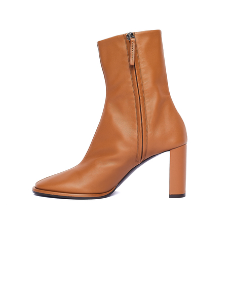 The Row Leather Teatime Zip Ankle Boots - Beige