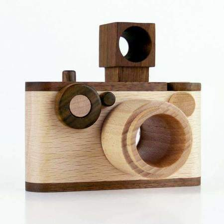 KIDS Father's Factory Say Cheese 35MM Vintage Wooden Toy Camera With Kaleidoscope Lens