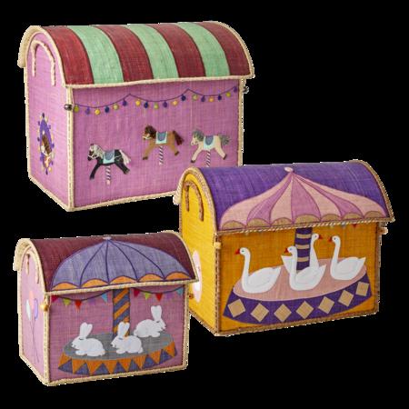 Kids Rice Small Toy Basket - Carousel Design