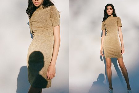 Nomia Mockneck Minidress - Gold
