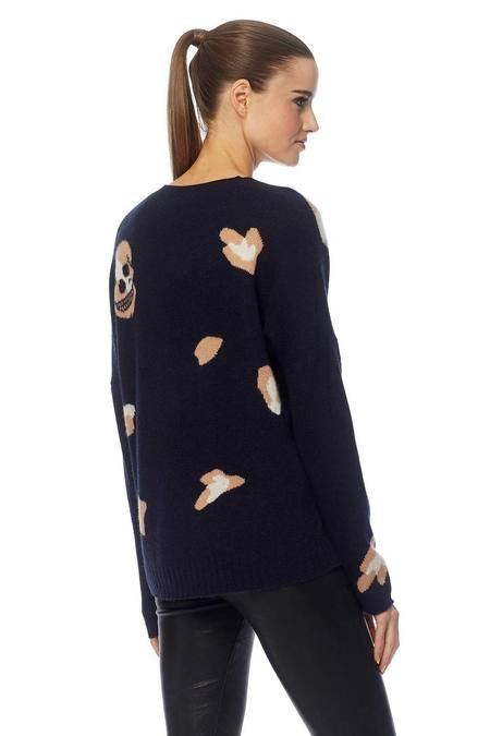 360 Cashmere Heidi Sweater - Navy/Chalk/Maple Sugar