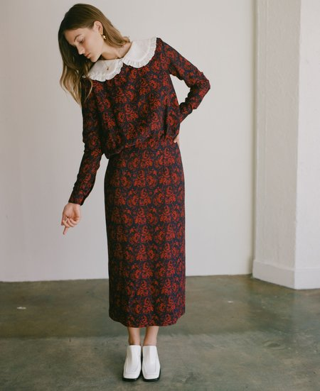 Suzanne Rae Blouson Dress - Red/Navy Paisley