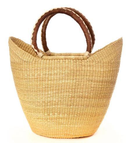 Swahili Modern NATURAL SHOPPER WITH LEATHER HANDLES