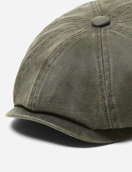 Stetson Waxed Cotton Hatteras Newsboy Cap - Olive Green