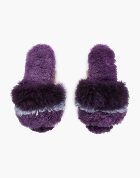 Ariana Bohling Three Stripe Alpaca Slipper - Lilac