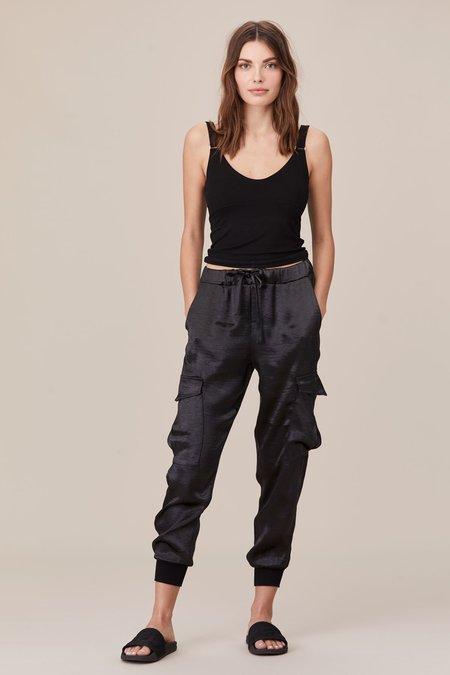 LnA Shine Cargo Pant - Black