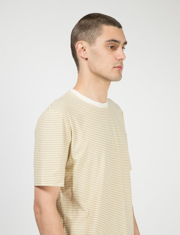 Folk Clothing Folk 1x1 Stripe Tee - Fawn Ecru