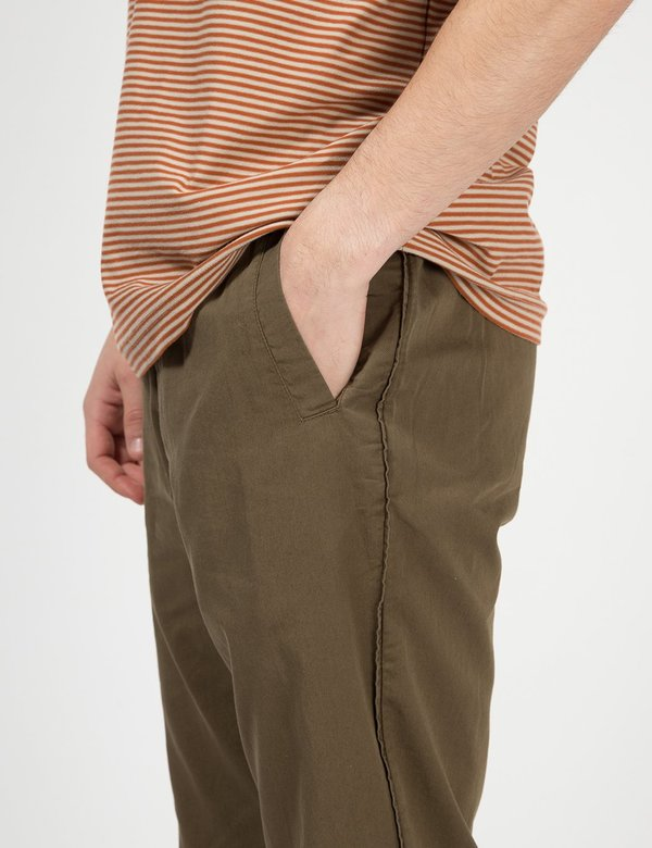 Folk Clothing Loose Cropped Draw Cord Trousers - Khaki Green