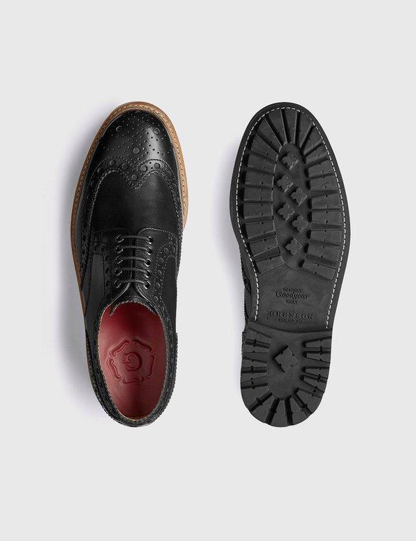 Grenson Archie Commando Leather Sole Shoes - Black