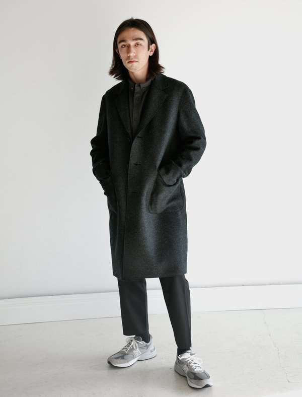 Harris Wharf London Dropped Shoulder Coat Pressed Wool - Anthracite
