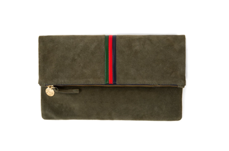 Clare V. Foldover Clutch Army Suede - Evergreen/Cherry/Navy