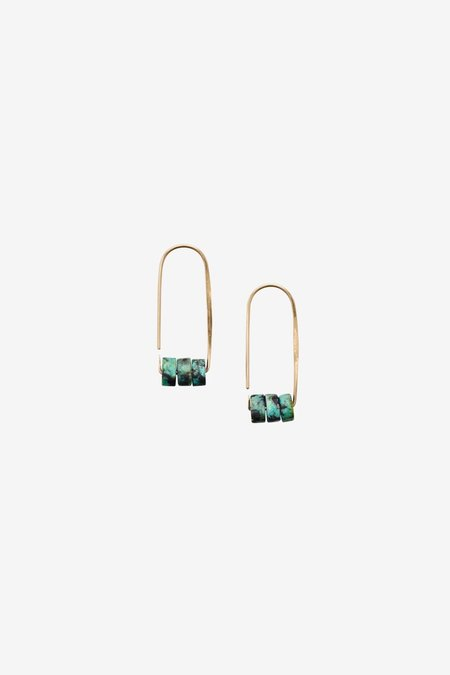 Fail Jewelry Small Aura Hoop - Turquoise/Gold Fill