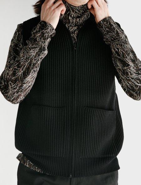 Auralee Super Fine Wool Rib Knit Zip Vest - Black
