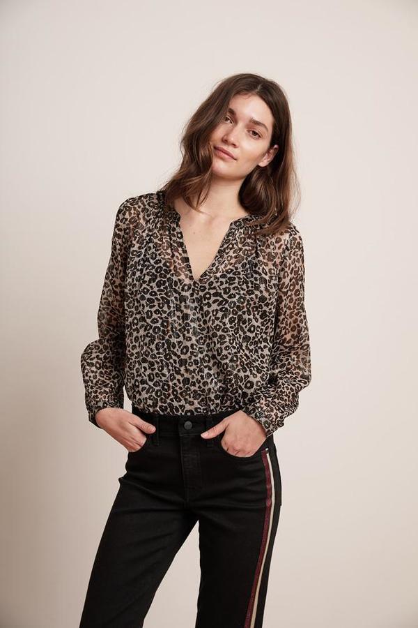 Velvet Peyton Long Sleeve Blouse - Leopard