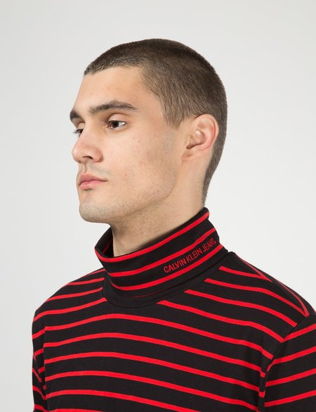 Calvin Klein Jeans Stripe L/S Turtleneck - CK Black/Red