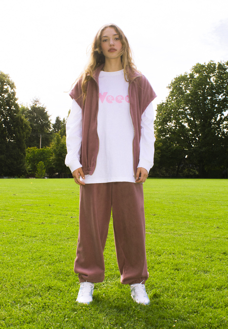 unisex folk fortune Eco fleece High Waisted Pants - Rose Mauve