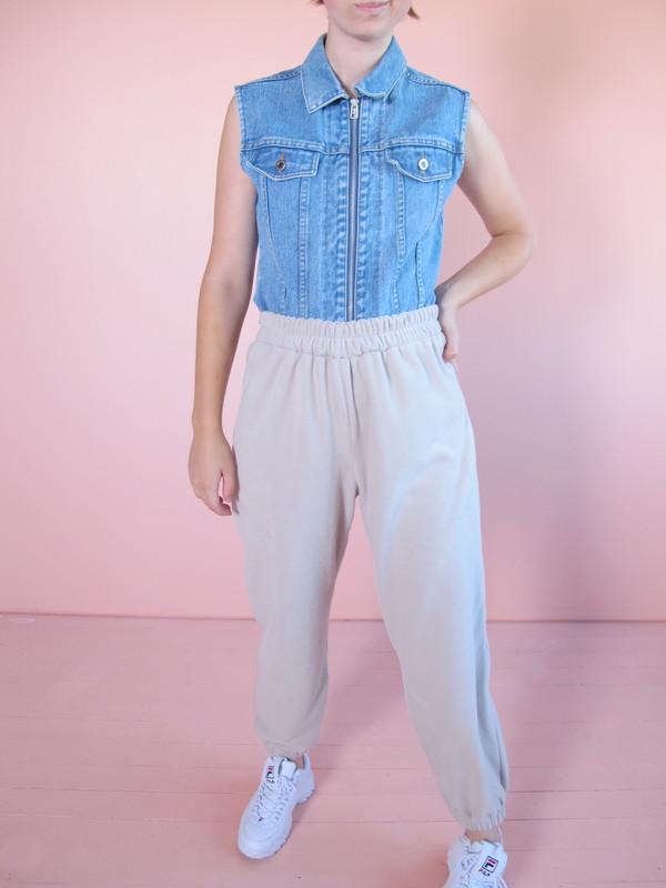 unisex Folk Fortune Eco fleece High Waisted Pants - Cream