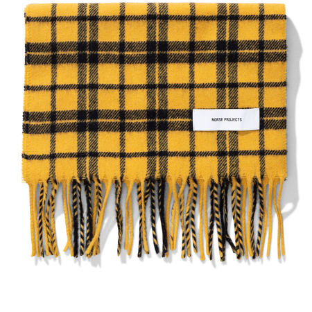 Norse Projects lambswool check scarf - Montpellier Yellow
