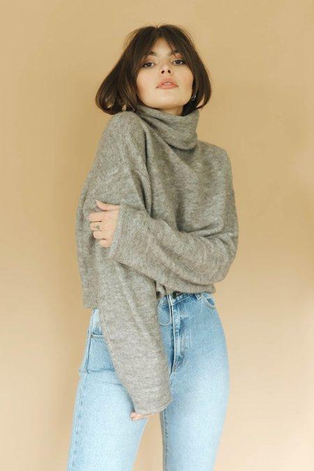 Caara Cowl Neck Crop Sweater - Taupe