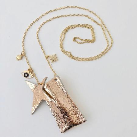 kids atsuyo et akiko amulet crystal necklace - distress rose