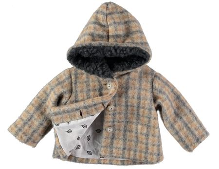 kids Búho Jeremy Check Hooded Coat - charcoal/brown