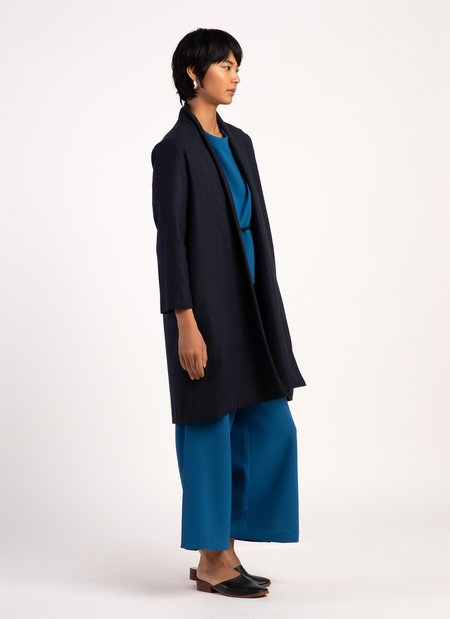 KAAREM Changes Shawl Collar Long Sleeve Jacket - Dark Blue
