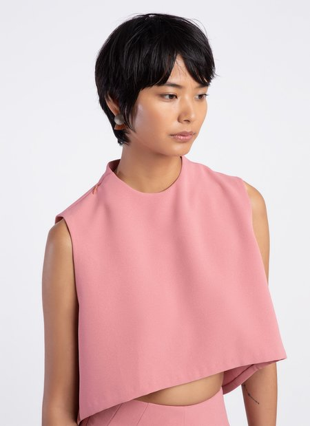 KAAREM Wind Chime Raised Collar Cropped Top - Sunset Pink