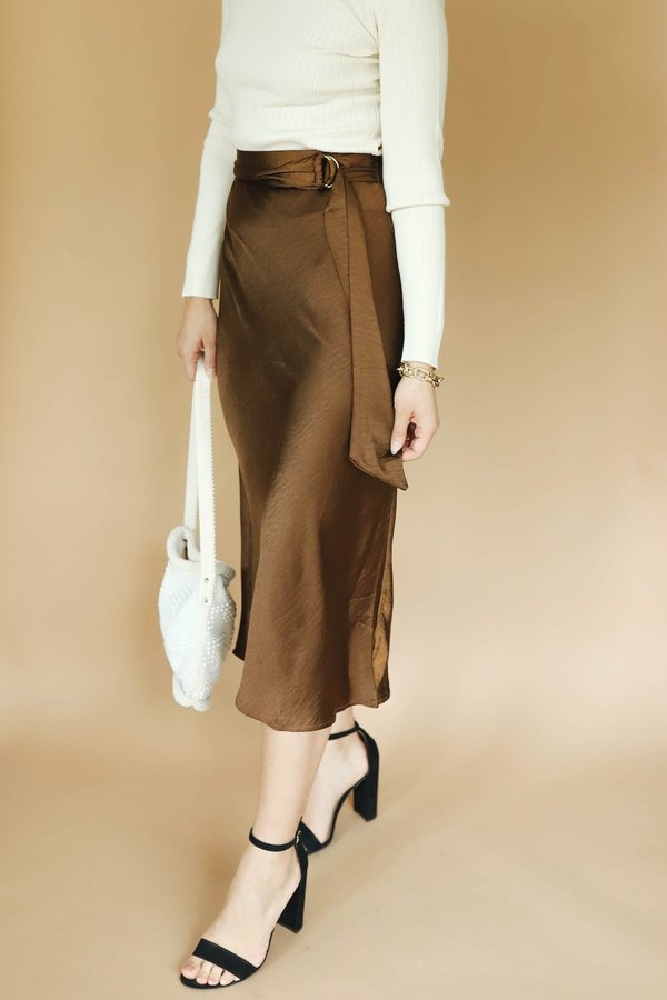 Moon River Belted Silky Midi Skirt - Brown