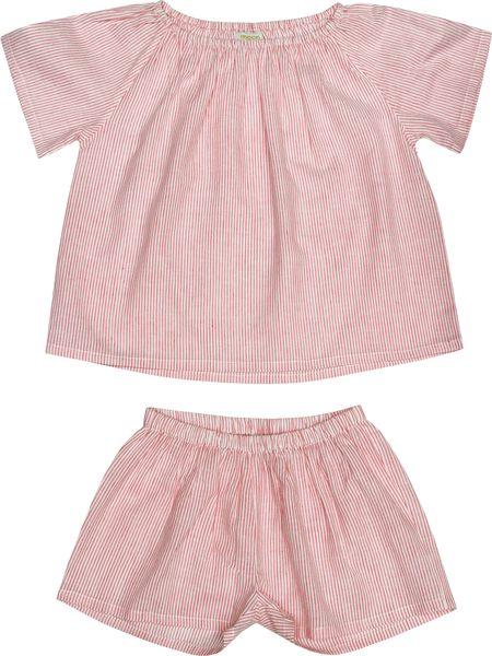 kids Moon Paris Fanny Pyjamas - Red Stripes