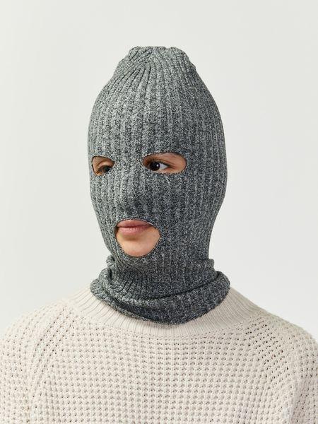 giu giu Rib Knit Ski Mask - Grey