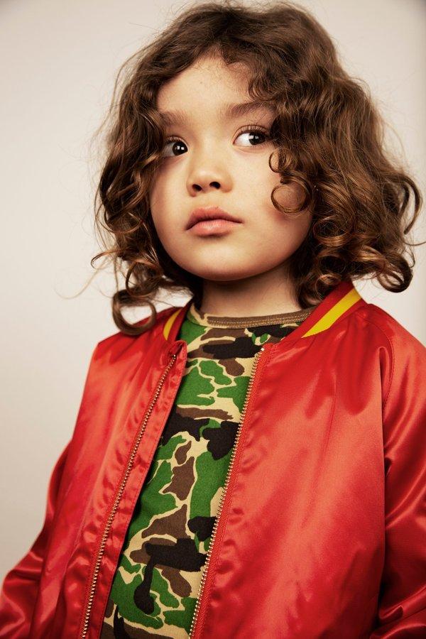 kids mini rodini panther baseball jacket - red
