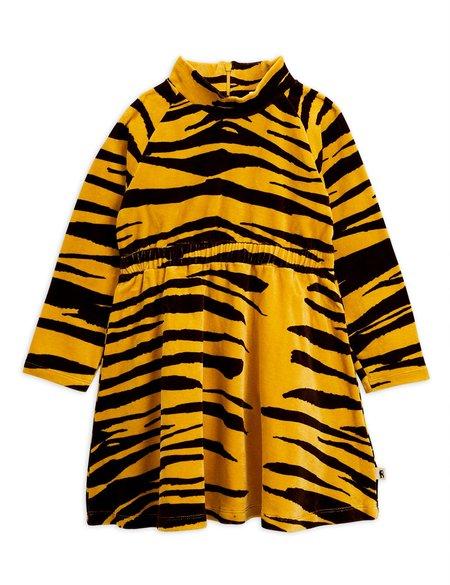 kids mini rodini tiger velour dress - brown