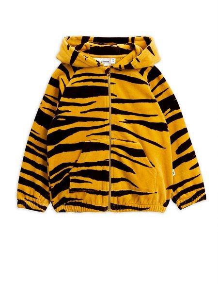 kids mini rodini tiger velour zip hoodie - brown