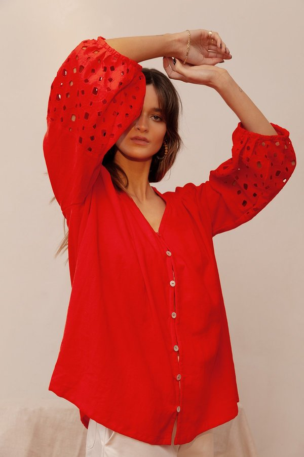 BEFORE MARCH Smock top - red
