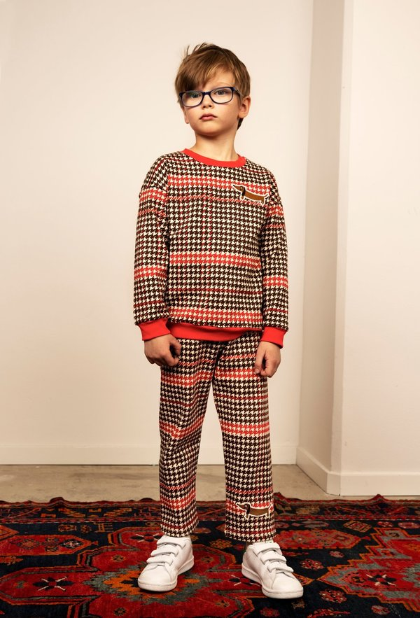 kids mini rodini houndstooth sweatshirt - red