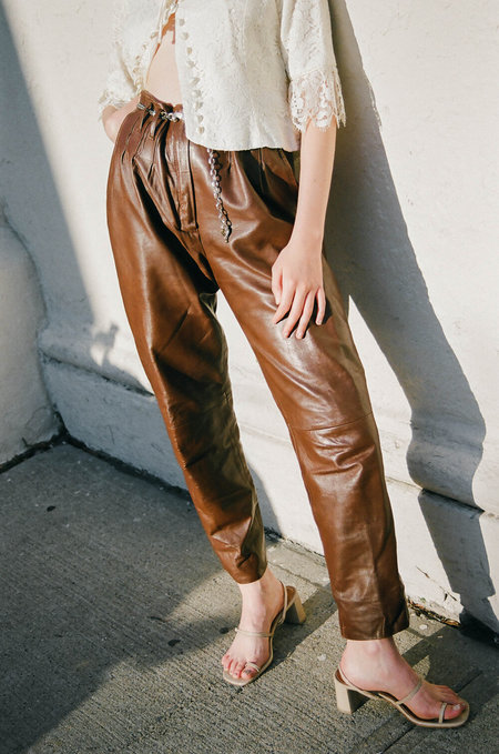 Vintage Leather Pants - Brown