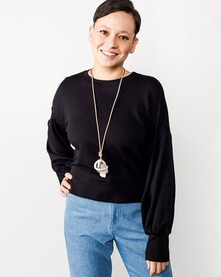 Corinne Karla Balloon Sleeve Top - Black