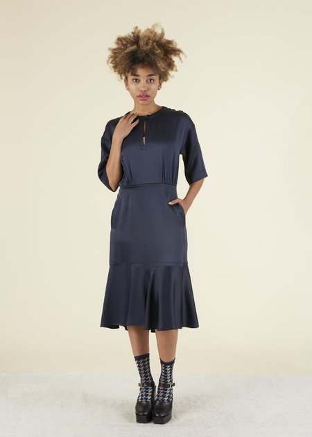 Odeeh Fitted Button-Collar Dress - Navy