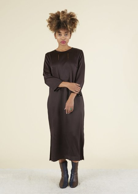 Odeeh Slit Top Shift Dress - Mahogany