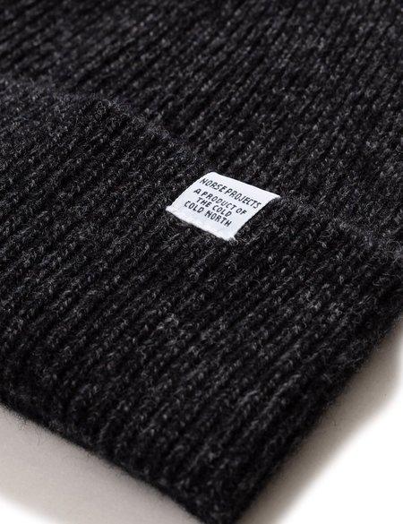 Norse Projects Twist Beanie Hat - Charcoal Melange