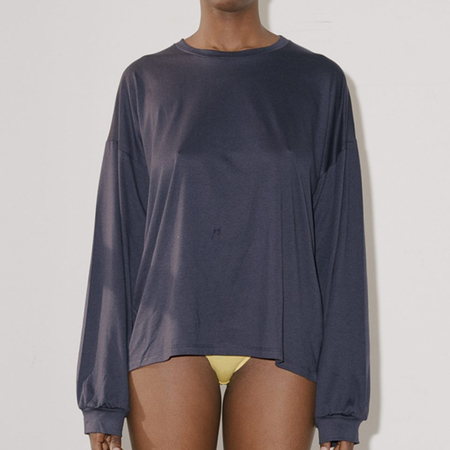 Baserange Michael Longsleeve Cotton Silk Tee - Navy