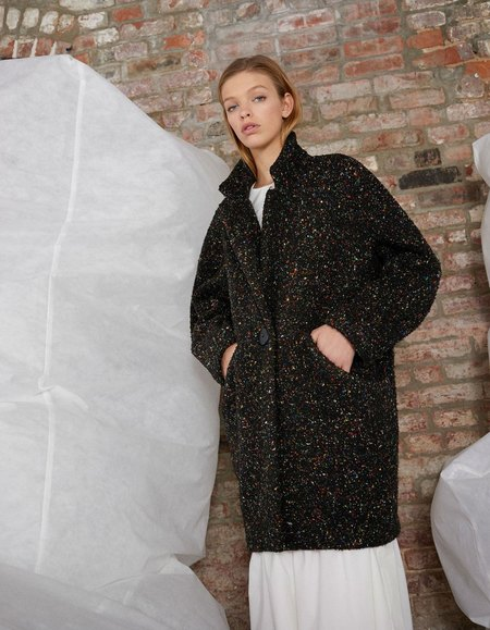 Whit Cocoon Coat - Black Speckle
